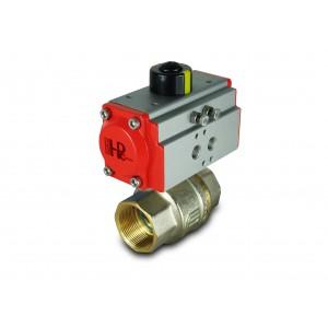 Žalvarinis rutulinis vožtuvas 1 1/2 colio DN40 su pneumatine pavara AT52