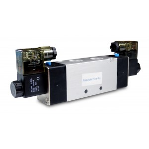 Solenoidinis vožtuvas 4V420 5/2, bistabilus 1/2 colio, 230V arba 12V, 24V pneumatiniams cilindrams