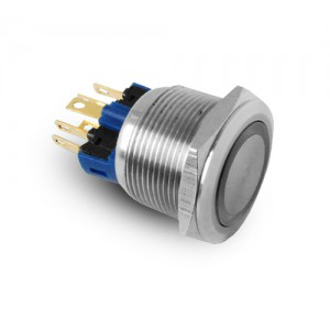 Mygtukas 22mm nerūdijančio plieno IP65 LED 230V arba 24V mėlynas momentinis