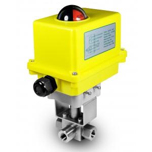 Aukšto slėgio 3 krypčių rutulinis vožtuvas 3/8 colių SS304 HB23 su elektrine pavara A250