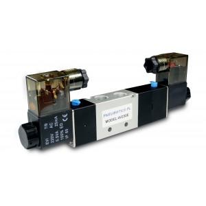 Solenoidinis vožtuvas 5/3 4V230E 1/4 colio, skirtas pneumatiniams cilindrams, 230 V arba 12 V, 24 V